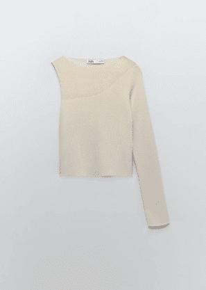 Top sheer fabric asymetrique Zara