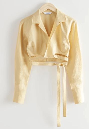 Chemise croisée jaune Other&Stories