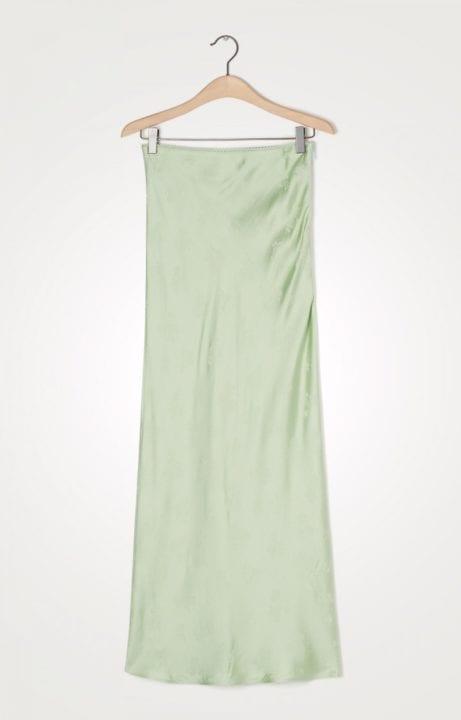 Jupe longue vert pastel en satin- American Vintage