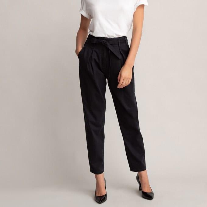 Pantalon taille haute cigarette noir