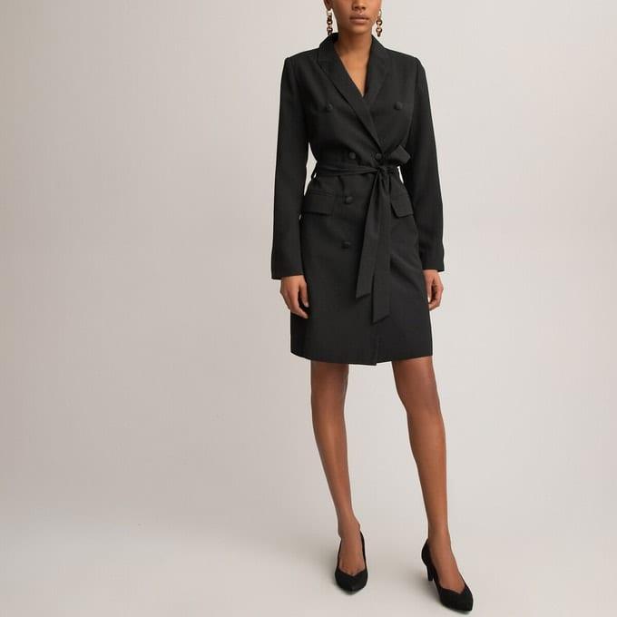Robe tailleur boutonnée noire