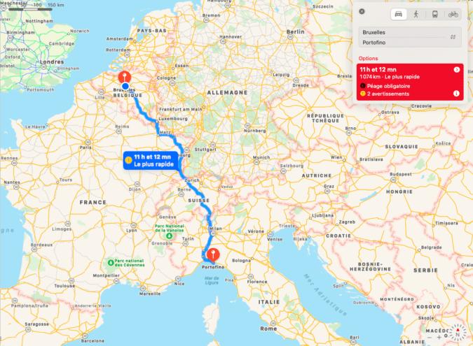 Itinéraire Bruxelles - Portofino