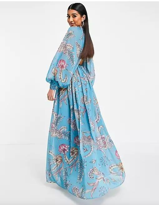 ASOS DESIGN - Robe longue à manches ballon et imprimé cachemire – Bleu – ASOS