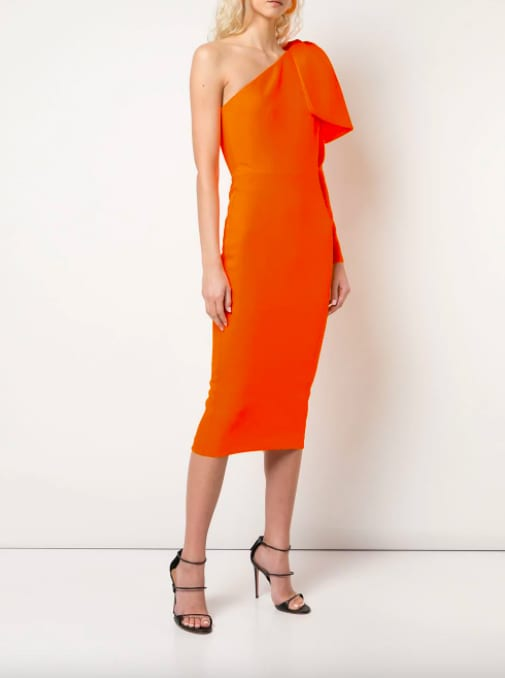 Alex Perry – Robe orange mi longue asymétrique – Farfetch