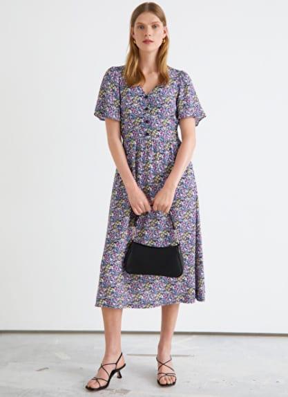 Bohème - Longue robe mauve fleurie – And Other Stories