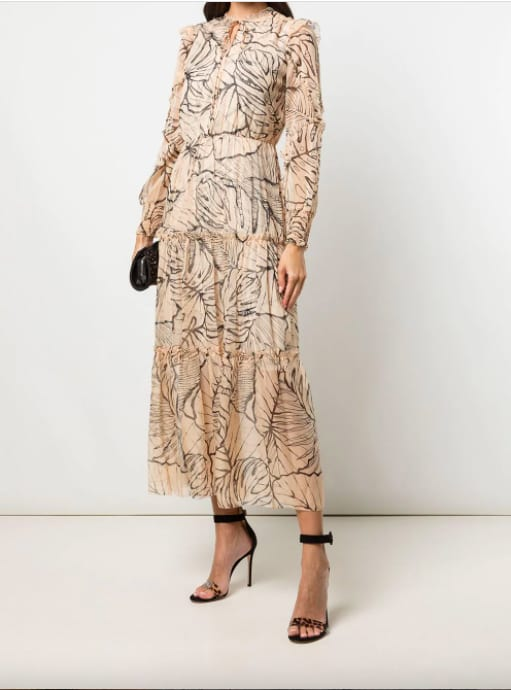 Marchesa Notte -Longue robe beige à motifs – Farfetch