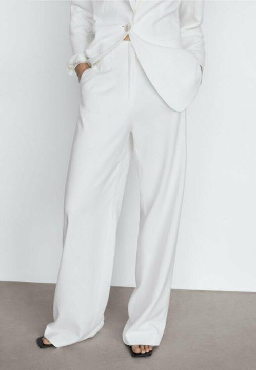 Massimo Dutti - Pantalon blanc classique de tailleur - Zalando