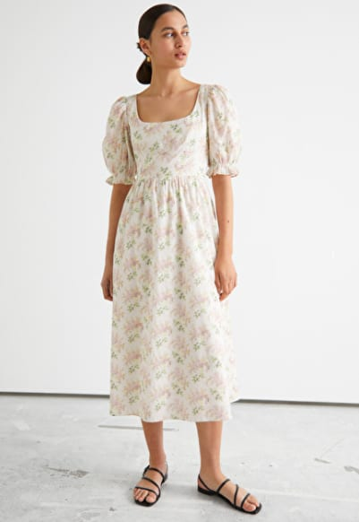 Bohème - Robe beige fleurie – col carré – And Other Stories