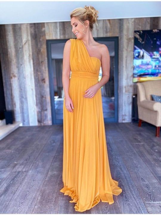 Robe de demoiselle d'honneur - multi attaches - jaune - Anne-Sophie Concept Store