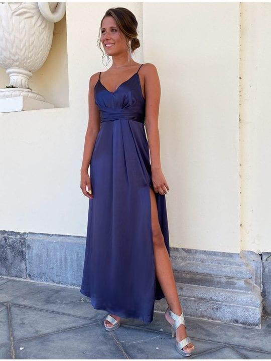 Robe de soirée fendue en soie - bleu marine - Anne-Sophie Concept Store