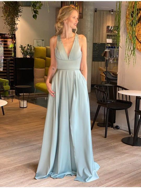 Robe longue à dos croisé - vert d'eau - Anne-Sophie Concept Store