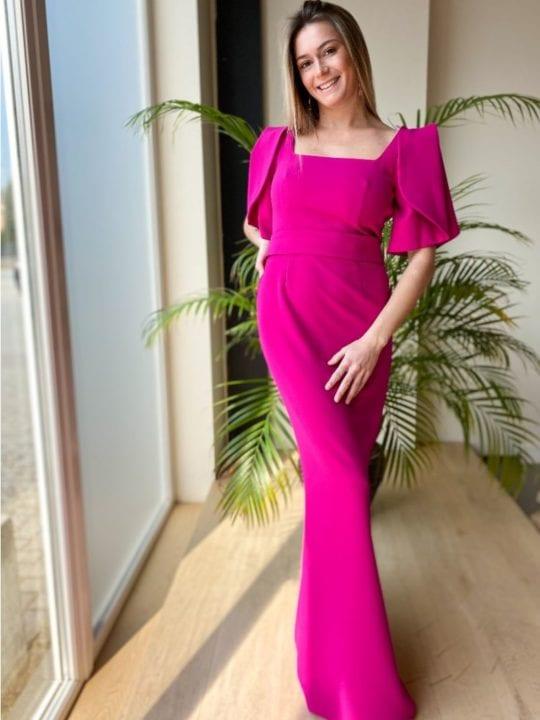 Robe longue avec ceinture - mauve - Anne-Sophie Concept Store
