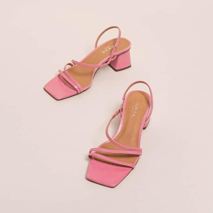 Sandale rose bonbon en cuir à talon - Jonak
