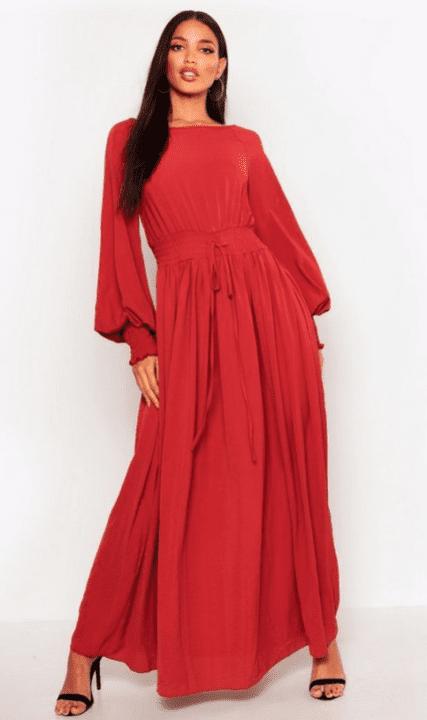 robe boohoo rouge
