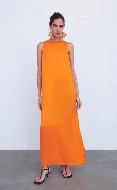 robe satin orange zara